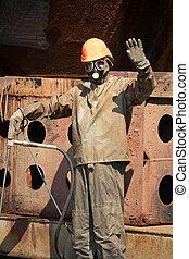 homem, em, terno proteção radiação