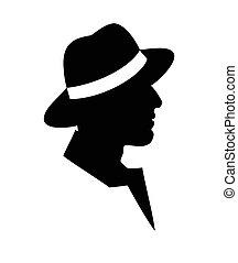 homem, em, um, chapéu, -black, silueta