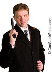 homem, em, um, paleto, objetivos, de, um, pistola