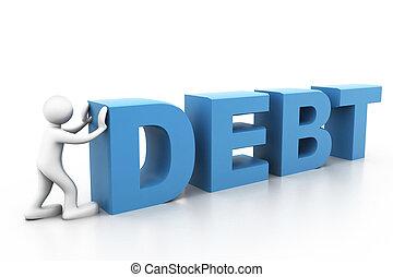 homem, empurrão, palavra, dívida