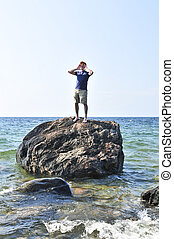 homem, encalhado, ligado, um, rocha, em, oceânicos