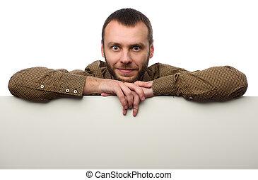 homem enfrentado, com, em branco, painél publicitário