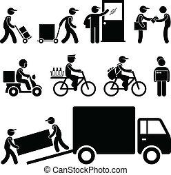 homem entrega, carteiro, mensageiro, poste