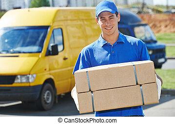 homem entrega, com, pacote, caixa