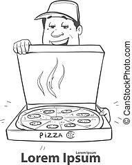 homem entrega, pizza