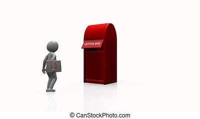 homem, enviando, 3d, correio