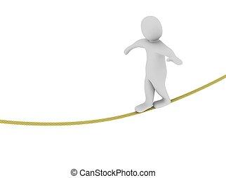 homem equilibra, ligado, a, rope., 3d, representado, illustration.
