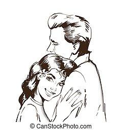 homem, esboço, mulher, amor, card., lovers., love., valentines, par., day., pretas, são, encantador, branca, art., linha, feliz