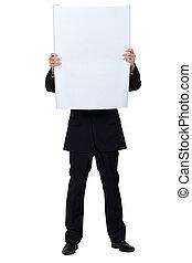 homem, escondido, atrás de, um, branca, painel, para, mensagem