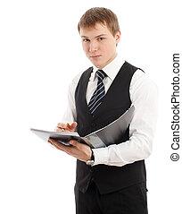 homem, escrita, algo, em, um, folder.