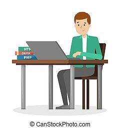 homem, escrivaninha, trabalhando, sentando