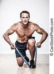 homem, esticando exercício, muscular, bonito