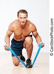 homem, esticar, exercise., muscular, bonito