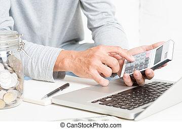 homem, fazendo, contabilidade