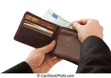 homem, fazer, um, dinheiro, pagamento
