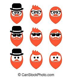 homem, gengibre, barba