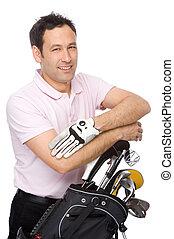 homem, golfe, equipamento