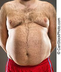 homem, gorda, recortado, vista