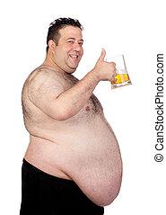 homem gordo, bebendo, um, jarro, de, cerveja