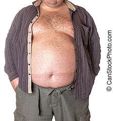 homem gordo, com, um, grande, barriga