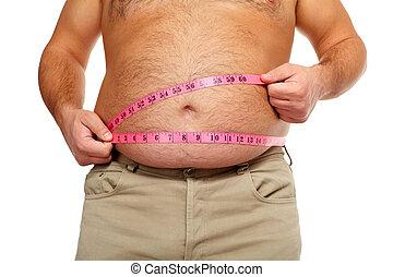 homem gordo, com, um, grande, belly.