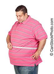 homem gordo, com, um, medida fita