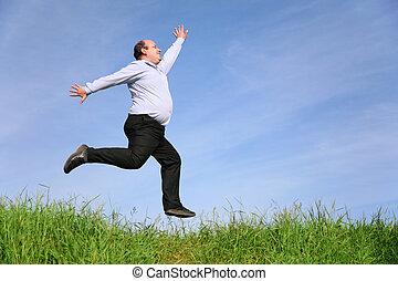 homem gordo, pulos, ligado, prado