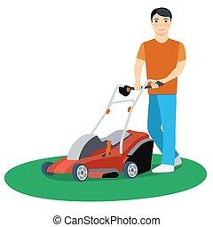 homem, gramado, vetorial, ilustração, mower