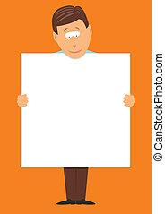 homem, grande, em branco, segurando, sinal