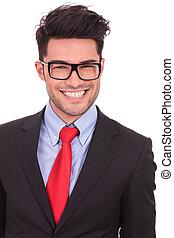 homem grande, negócio, sorrizo