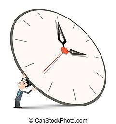 homem grande, segurando, relógio