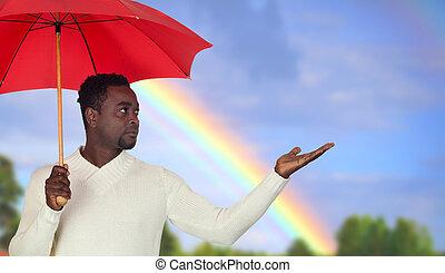 homem, guarda-chuva, atraente, vermelho, africano
