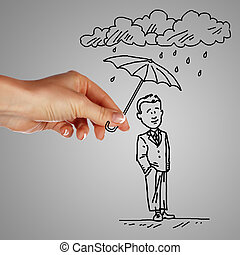 homem, guarda-chuva, chuva, segurando, sob