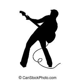homem, guitarra, ilustração, vetorial