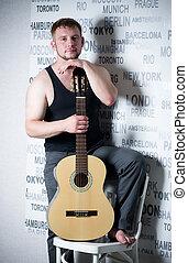 homem, guitarra, jovem