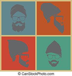 homem, headdress, coloridos, ícones