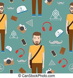 homem, hipster, apartamento, estilo, seamless, padrão