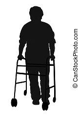 homem idoso, com, caminhante