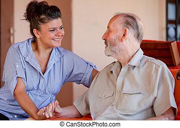 homem idoso, com, enfermeira, carer, ou, granddaughter.