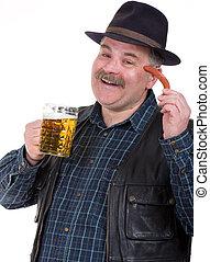 homem idoso, segurando, um, cerveja