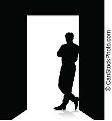 homem, inclinar-se, a, porta