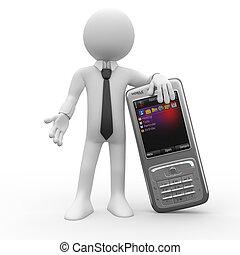 homem, inclinar-se, um, grande, telefone móvel