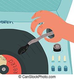 homem, interruptores, pôr, jogador, algum, pick-up, retro, registro vinil, música, mão, som, plataforma giratória, punho