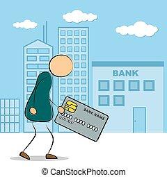 homem, ir, para, banco