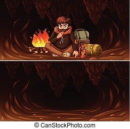 homem, jogo, caverna, acampamento, cena