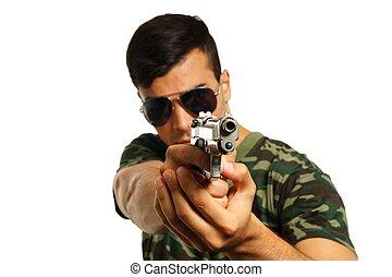 homem, jovem, arma