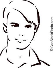 homem jovem, atraente, rosto