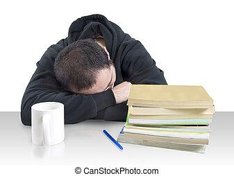 homem jovem, caído, adormecido, sobre, livros