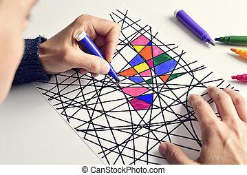 homem jovem, coloração, um desenho, projetado, sozinha