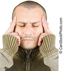 homem jovem, com, concentração, expressão, ou, dor de cabeça